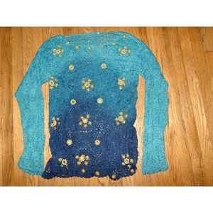 Ombre MIRRORED Crochet India Boho Sweater Pearls